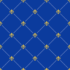Seamless vector pattern. Modern geometric ornament with blue background and golden royal lilies. Classic vintage background