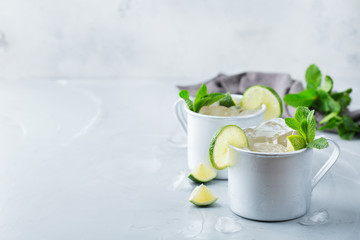 Moscow mule cocktail with vodka, ginger beer, lime and mint