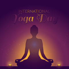 Beautiful concept banner illustration for the International Yoga day with lotus pose silhouette and candles.