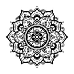 Black isolated ethnic mandala design. Anti-stress coloring page for adults. Hand drawn illustration in boho style