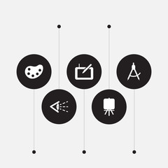 Set of 5 creative icons set. Collection of look, compass , stand elements.