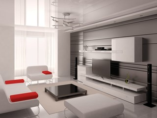 Mock up a modern living room with a fashionable interior and functional furniture.