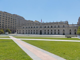 View of the presidential palace, known as La Moneda, in Santiago, Chile