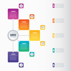 Business presentation or infographic with 5 options. Example of a chart, mindmap or diagram with 5 steps. Vector Annual report. Infographics or mind map of technology or education process.