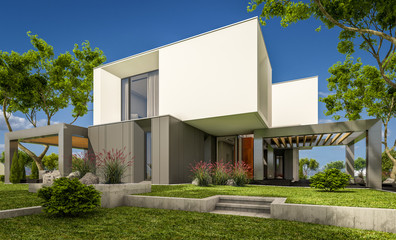 3d rendering of modern house in the garden