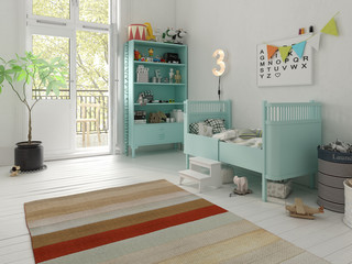 Children room scandinavian style 3D rendering