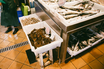 Seafood at the fish market in Spain
