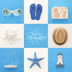 nautical collage with sea life style objects over blue and white wooden background.