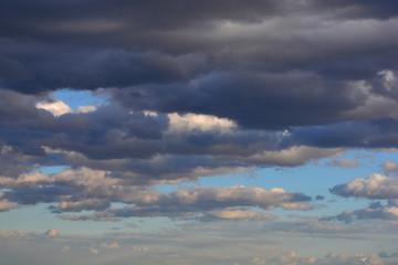 Rainy dark clouds. Nature before the rain.