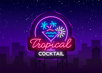 Tropical Cocktail neon sign. Cocktail Logo, Neon Style, Light Banner, Night Bright Neon Advertising for Cocktail Bar, Party, Pub. Alcohol. Vector illustration