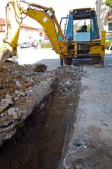 Excavator, excavation work