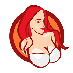 Beautiful Girl in White Bra with Big Boobs - Vector Bust for Logo or Emblem of Store or Web Site.