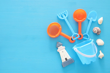 vacation and summer image with sea life style objects and beach toys for kid.
