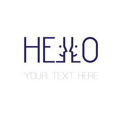 slim rectangular dark blue lettering hello word design with smiling faces great for your blog, website, t-shirt, greeting card, poster and other