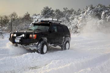 SUV on snow