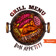 Bbq Barbecue Grill Sketch Color Menu Emblem