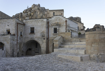 Ancient grotto house in Matera historic Sassi district