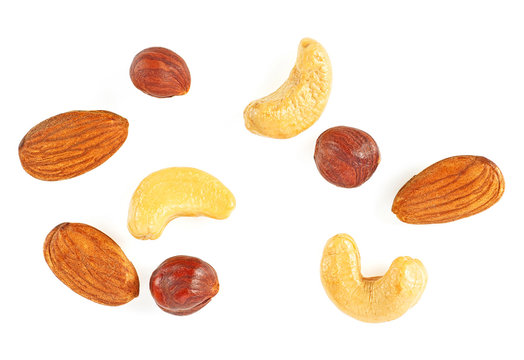Nuts mix on a white background, top view