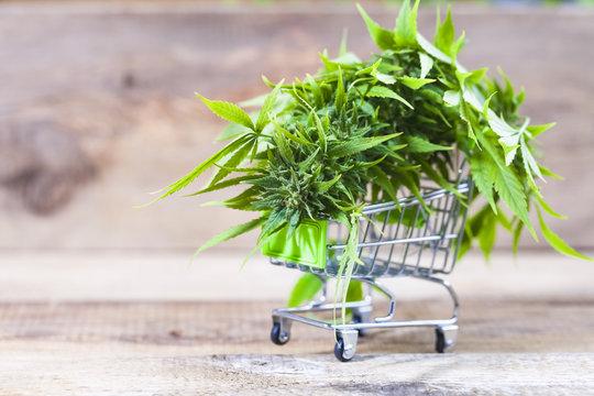 cannabis in a shopping trolley