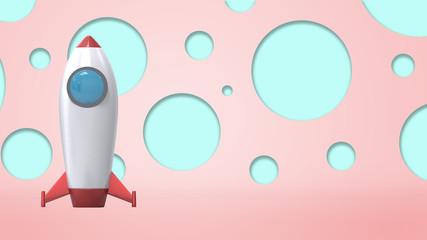 3d render of rocket ob pastel background
