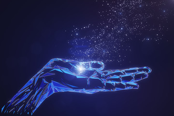 Glowing polygonal hand on blue background