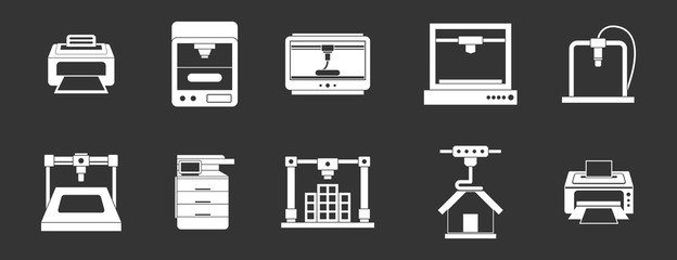 Printer icon set vector white isolated on grey background