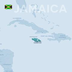 Verctor Map of cities and roads in Jamaica.