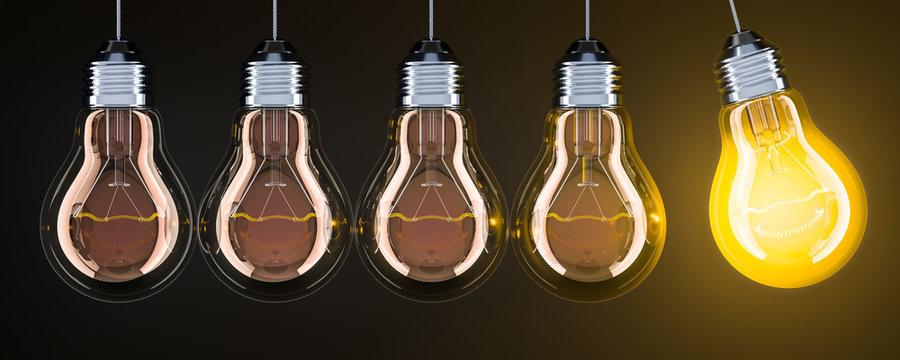 Pendulum from lightbulbs on the dark backdrop, 3D rendering