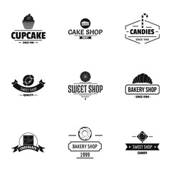 Sweet shop logo set. Simple set of 9 sweet shop vector logo for web isolated on white background