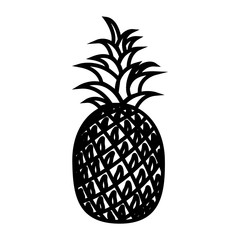 Pineapple line icon. Whole ripe pineapple fruit with leaves. Vector Illustration