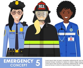 Emergency concept. Detailed illustration of female firefighter, doctor and policeman in flat style on white background. Vector illustration.