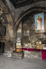Sevanavank, Armenia, September 19, 2018: The interior of the church in the monastery complex Sevanavank located on the northwest coast of Lake Sevan