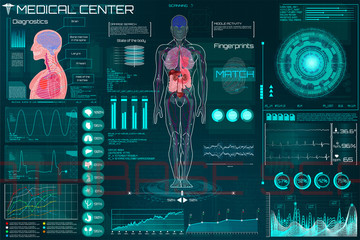 Medical Infographic HUD. Health and healthcare icons and Structure of human organs. Medical Infographic (Heart, lungs, stomach, kidney and human brain in 3D)  Body Scanning (Sci fi, Ui, HUD  elements)