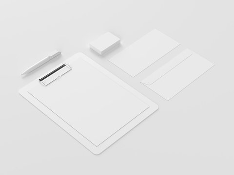 Mock-up for corporate identity. 3D rendering