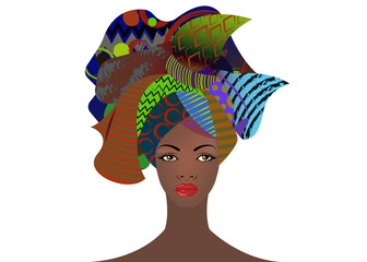 portrait of the young African woman colorful turban. Wrap Afro fashion, Ankara, Kente, kitenge, African women dresses. Nigerian style, Ghanaian fashion with grunge texture. Vector isolated or white