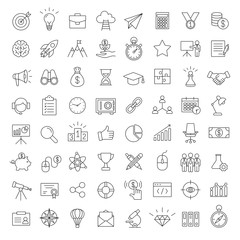 business startup development marketing line black vector 64 icons set