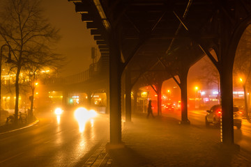 elevated railway at foggy evening