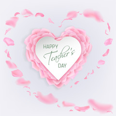 Teachers day card with rose petals