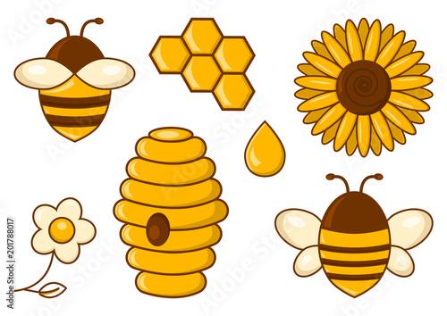 Bee Set Honey Bees Sunflower Chamomile Beehive Honeycomb Drop