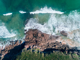 Aerial view of a rocky beach