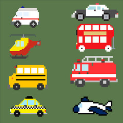 Vector pixel art transportation collection