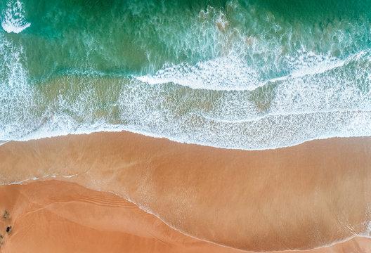 Aerial view of a wild beach in Asturias