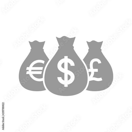 Bags Of Dollar Pound And Euro Money Pictogram Icon Euros Dollars