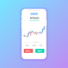 Bitcoin Exchange. Cryptocurrency Technology. Smartphone Clean Mobile UI Design Concept. Trendy Mobile Banking. Financial analytics. Trading Business Application Template. Vector illustration.