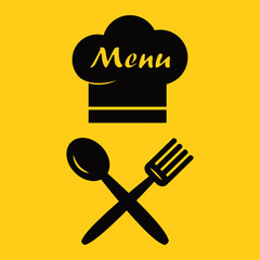 Menu icon. Chef hat and spoon, fork. Black silhouette on yellow background. Vector illustration