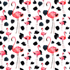 Watercolor Seamless Pattern With Flamingo and Dots. Exotic Summer Beach Motif. Swimwear Design, Wrapping, Background, Wallpaper, Fabric. Hawaiian Print. Jungle Birds Repeated Ornament. Africa.