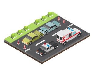 Isometric low poly accident crosswalk with bump car vector illustration