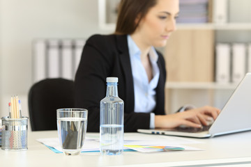 Bottled water in an office workplace