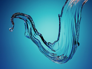 Wall Mural - 3d render, clear splash, water wave, curvy jet, wavy liquid, highlight reflection, digital illustration, curvy line, blue background