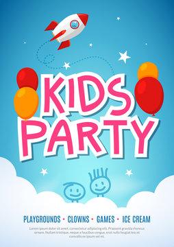 Kids fun party celebration flyer design template. Child event banner decoration. Birthday invitation poster background